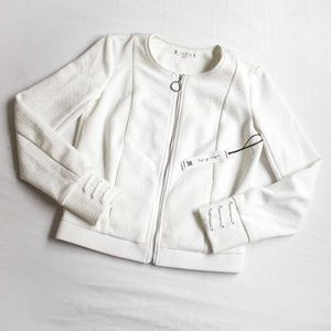 WILLOW & CLAY • WHITE ZIP-UP CROPPED CAREER JACKET